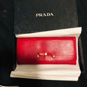 Prada red saffino wallet